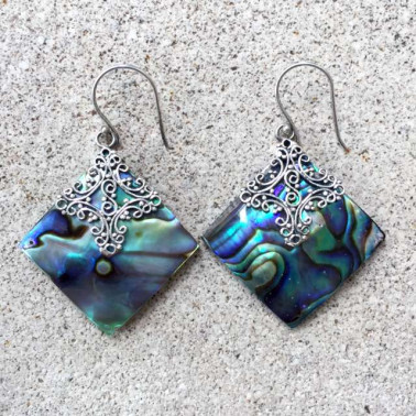 ER 12073 AB-(925 BALI SILVER EARRINGS WITH ABALONE SHELL)